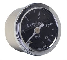 "Trans Dapt Performance 2388 FUEL PRESSURE GAUGE; 1-1/2"" Dia.; 0-15psi; 1/8NPT Threads -CHROME w/BLACK DIAL"