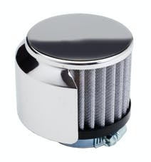 """Trans Dapt Performance 5103 3"""" Tall """"CLAMP-ON"""" Style Breather w/HOOD; 1-3/8"""" Tube; Open Cotton Filter-CHROME"""
