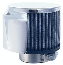 """Trans Dapt Performance 5104 3"""" Tall """"CLAMP-ON"""" Style Breather w/HOOD; 1-1/2"""" Tube; Open Cotton Filter-CHROME"""
