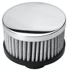 """Trans Dapt Performance 6896 2"""" Tall """"PUSH-IN"""" Style Breather; Open Cotton Filter Element; 1-1/4"""" Hole-CHROME"""