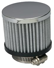 """Trans Dapt Performance 9598 3"""" Tall """"CLAMP-ON"""" Style Breather w/HOOD; Open Cotton Filter; 1-1/4"""" Hole-CHROME"""