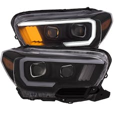 AnzoUSA 111377 Projector Headlights w/ Plank Style Design Black w/ Amber