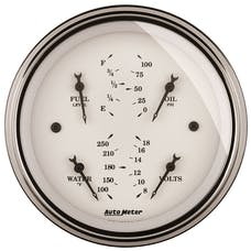 AutoMeter Products 1614 Gauge; Quad; 3 3/8in.; 0OE-90OF; Elec; Old Tyme White