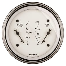 AutoMeter Products 1624 Gauge; Dual; Fuel/OILP; 3 3/8in.; 0OE-90OF/100psi; Elec; Old Tyme White