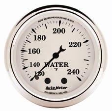 """AutoMeter Products 1632 2"""" Water Temperature Gauge, 120-240F Mechanical, Old Tyme White"""
