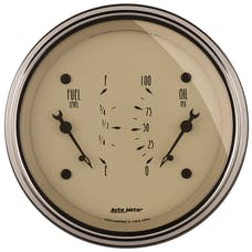 AutoMeter Products 1824 Gauge; Dual; Fuel/OILP; 3 3/8in.; 0OE-90OF/100psi; Elec; Antq Beige
