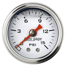 AutoMeter Products 2175 Auto Gage Series Dampened-Movement Pressure Gauge (White, 0-15 PSI, 1-1/2 in.)