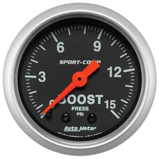 "AutoMeter Products 3302 2-1/16"" Boost 0-15 psi, FSM, Sport Comp"