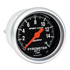 AutoMeter Products 3344 Gauge; Pyrometer (EGT); 2 1/16in.; 1600deg.F; Digital Stepper Motor; Sport-Comp