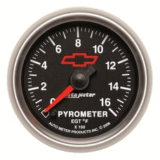 "AutoMeter Products 3644-00406 2-1/16"" Pyrometer Kit 0 1600 F Full Swp Elec, GM Red Bowtie"