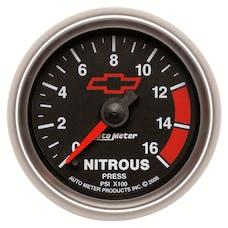 AutoMeter Products 3674-00406 GAUGE; NITROUS PRESSURE; 2 1/16in.; 1600PSI; DIGITAL STEPPER MOTOR; GM BOWTIE BL