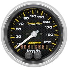 "AutoMeter Products 4780-M Speedometer Gauge, 3 3/8"", 225km/h, GPS, Carbon Fiber"