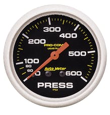 AutoMeter Products 5425 Gauge; Pressure; 2 5/8in.; 600psi; Liquid Filled Mech; Pro-Comp