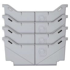 DECKED AD2-WIDEDIVSETX4 DECKED Full Size Drawer Dividers Set of Four Made Of Polypropylene Light Grey