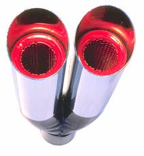 "Hedman Hedders 17104 Dual Resonator HOT TIPS Exhaust Tip; 2-1/4"" System; 9"" Long; 2-1/2"" Out-CHROME"