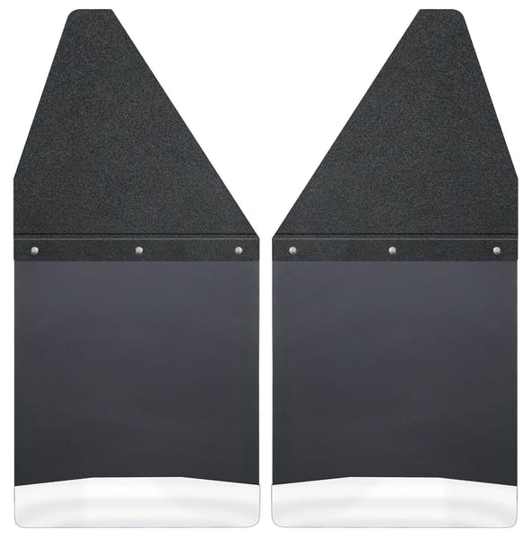 "Husky Liners 17100 Kick Back Mud Flaps 12"" Wide - Black Top and Stainless Steel Weight"