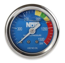"NOS 15918NOS Nitrous Gauge, Blue 1-1/2"", Liquid Filled"