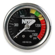 "NOS 15919NOS Nitrous Gauge, Black 1-1/2"", Liquid Filled"