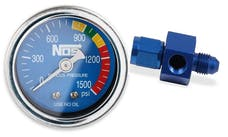 "NOS 15920NOS NOS Nitrous Gauge, Blue, 1-1/2"", w/ -4AN adapter"