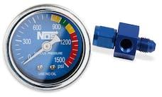 """NOS 15920NOS NOS Nitrous Gauge, Blue, 1-1/2"""", w/ -4AN adapter"""