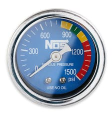 NOS 15924NOS Nitrous Gauge with Adapter, Blue, 1-1/2; Dry