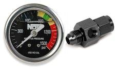 "NOS 15929NOS Nitrous Gauge, Black 1-1/2"", Liquid Filled with -6AN Adapter"