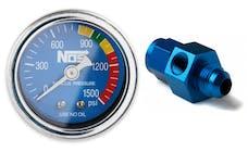 "NOS 15934NOS NOS Nitrous Gauge, Blue, 1-1/2"" with -6AN Adapter"