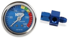 "NOS 15936NOS Nitrous Gauge, Blue 1-1/2"", Liquid Filled with -4AN Adapter"