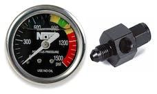 "NOS 15937NOS Nitrous Gauge, Black 1-1/2"", Liquid Filled with -4AN Adapter"