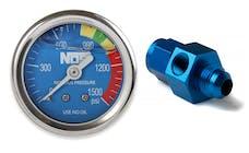 "NOS 15938NOS Nitrous Gauge, Blue 1-1/2"", Liquid Filled with -6AN Adapter"