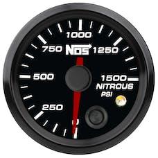 "NOS 15939NOS NOS Analog Style 2-1/16"" Nitrous Pressure Gauge, Black Face, 0-1500 PSI"