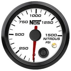 "NOS 15940NOS NOS Analog Style 2-1/16"" Nitrous Pressure Gauge, White Face, 0-1500 PSI"