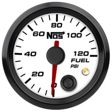"NOS 15942NOS NOS Analog Style 2-1/16"" Fuel Pressure Gauge, White Face, 0-120 PSI"