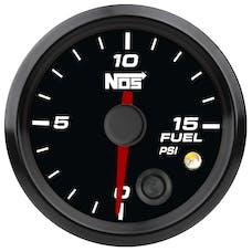 """NOS 15943NOS NOS Analog Style 2-1/16"""" Fuel Pressure Gauge, Black Face, 0-15 PSI"""