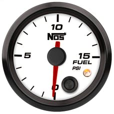 "NOS 15944NOS NOS Analog Style 2-1/16"" Fuel Pressure Gauge, White Face, 0-15 PSI"