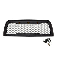 Paramount Automotive 41-0176MB Impulse Mesh Packaged Grille, Matte Black with Amber LEDs