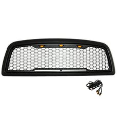 Paramount Automotive 41-0180MB Impulse Mesh Packaged Grille, Matte Black with Amber LEDs