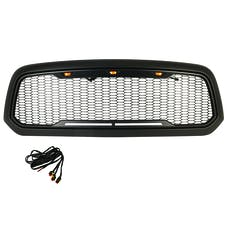 Paramount Automotive 41-0183MB Impulse Mesh Packaged Grille, Matte Black with Amber LEDs