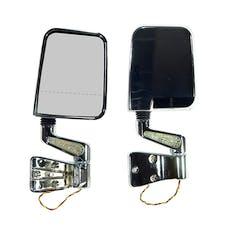 Rugged Ridge 11016.02 Door Mirror Kit; LED Signal; Dual Focus; Chrome; 87-02 Jeep Wrangler