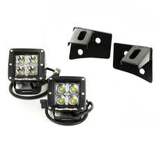 Rugged Ridge 11027.10 Windshield Bracket LED Kit; Black; Square; 07-17 Jeep Wrangler JK