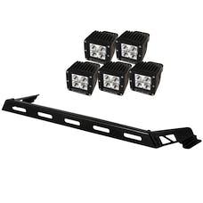 Rugged Ridge 11232.05 Hood Light Bar Kit; 5 Cube LED Lights; 07-17 Jeep Wrangler JK