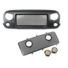 Rugged Ridge 12034.35 Spartan Grille Mesh Insert Kit w/Rd LED Driving Lights; 07-17 Jeep JK
