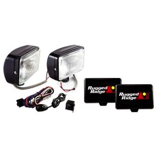Rugged Ridge 15207.55 5 Inch x 7 Inch Halogen Fog Light Kit; Black Steel Housings; Pair