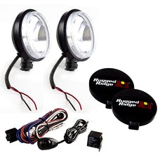 Rugged Ridge 15207.58 6 Inch Round Slim Halogen Light Kit; Black Steel Housings; Pair