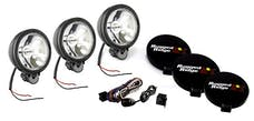 Rugged Ridge 15207.61 6 Inch Round Halogen Light kit; Set of 3; Black;