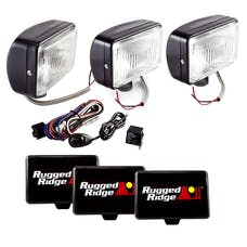 Rugged Ridge 15207.65 5 Inch x 7 Inch Halogen Fog Light Kit; Black Steel Housings; Set of 3