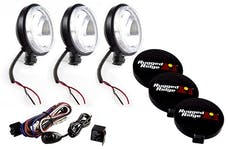 Rugged Ridge 15207.68 6 Inch Halogen Light Kit; Black Steel Housings; Set of 3