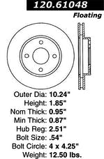 StopTech 126.61048SL Sport Slotted Rotor, Left