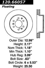 StopTech 127.66057R Sport Drilled & Slotted Rotor, Right