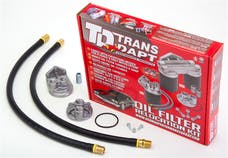 "Trans Dapt Performance 1120 Single Remote Oil Filter System; 2-1/2"" ID; 2-3/4"" OD Flange; 13/16""-16 Thread"